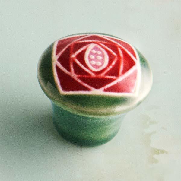 Craftsman Rose Ceramic Cabinet Knob