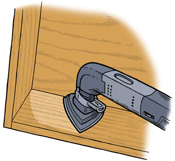 an illustration of an oscillating tool sanding in a corner
