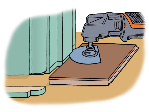 an illustration of an oscillating tool flush-cutting doorway casing