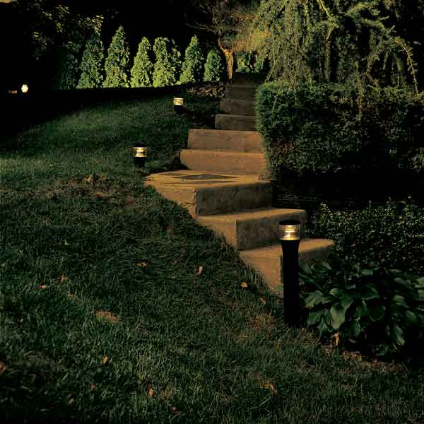 lit steps along garden steps for outdoor party prep