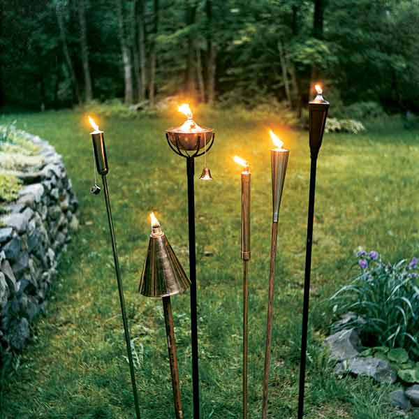lit outdoor torches for exterior lighting