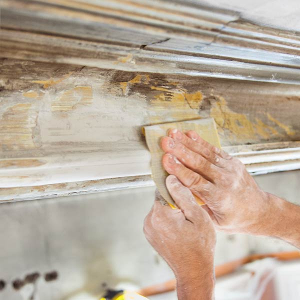 sanding to smooth out any seams, repairing plaster in Arlington Italianate TOH TV project house