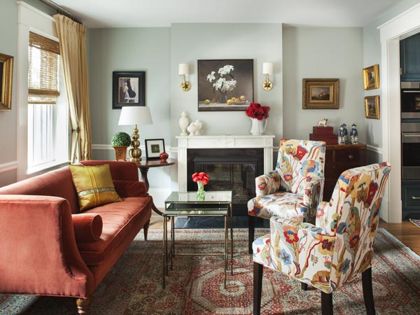 Period perfect greek revival front room charlestown 2014 for Living room with rust colored sofa