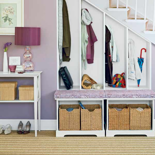 purple painted hallway with storage cubbies, mudroom bench and high traffic Multicolor striped wool in a low cut-and-loop carpet, all about wall to wall carpeting