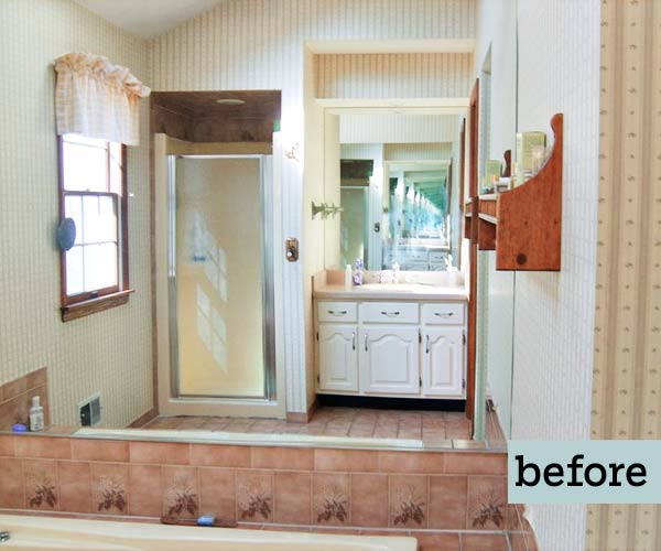 before master bath remodel with eighties outdated accents