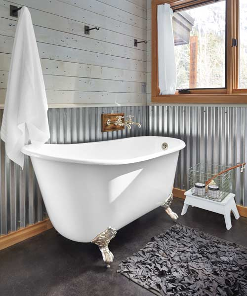 19 corrugated metal 20 budget friendly bath ideas for Metal wainscoting ideas