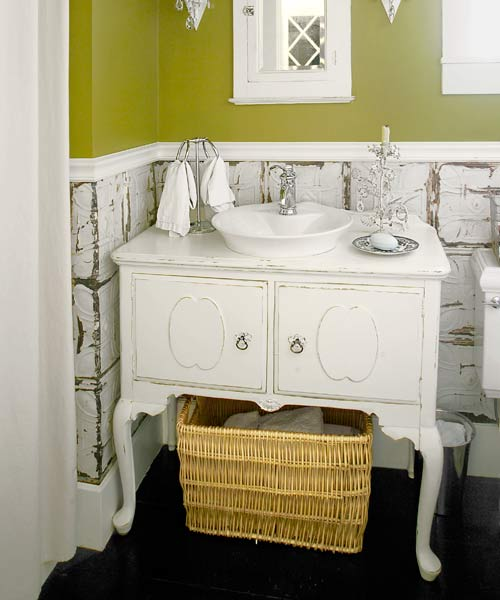 with distressed tine tile used as wainscot easy budget bath upgrades