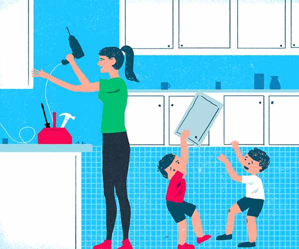 illustration of mom fixing kitchen cabinets while kids play, diy tips and tricks reader learned from their moms for mother's day