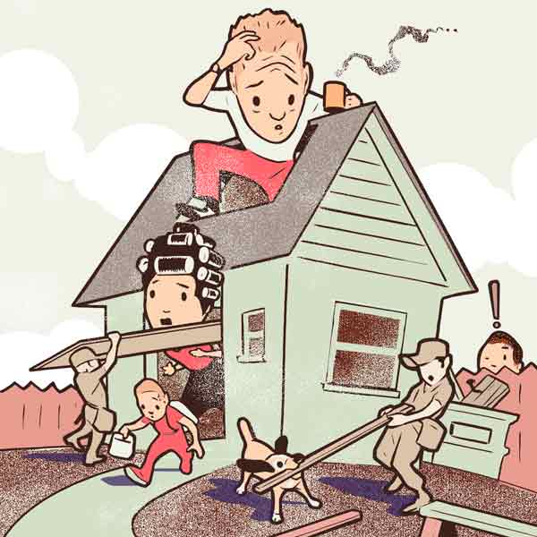 illustration of stressed homeowner during renovation, causes of stress during renovation