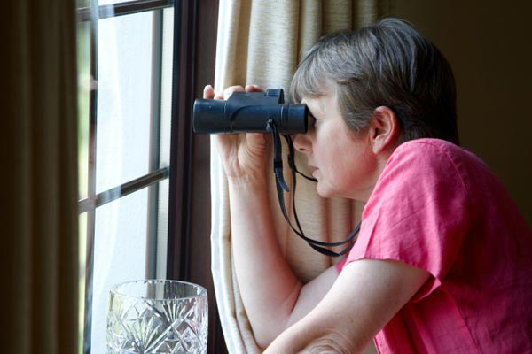 neighboring spying with binoculars, causes of stress during renovation