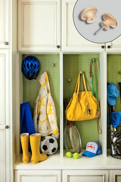 mudroom set up with peg board backed cubbies with moveable wood knobs for customization, easy upgrades around the home for the whole year
