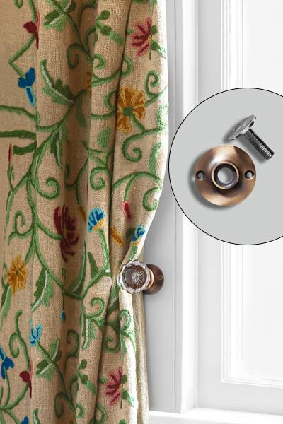 vintage door knobs used as curtain tie backs, easy upgrades around the home for the whole year