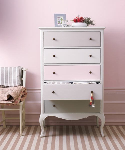 dresser with drawer fronts painted different tones of pink, easy upgrades around the home for the whole year