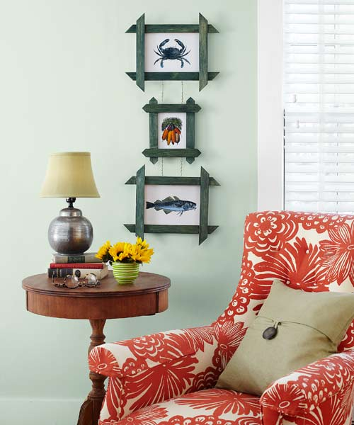 lattice used as photo frames hanging on wall, easy upgrades around the home for the whole year