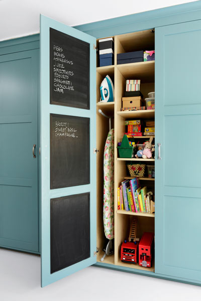 inside of kitchen cabinet door painted with chalkboard paint to make a memo board, easy upgrades around the home for the whole year