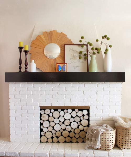 faux log summer front for fireplace, easy upgrades around the home for the whole year
