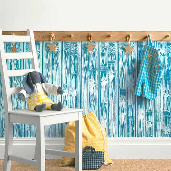 bright blue wood graining painted wall, easy upgrades around the home for the whole year