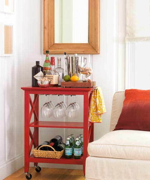 red painted bar cart, easy upgrades around the home for the whole year