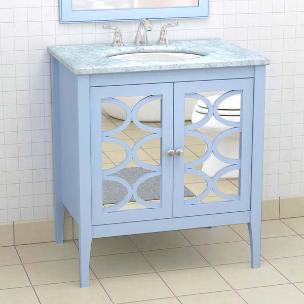 Custom vanity color of the month february 2014 placid blue this old house for Bathroom vanity with mirror doors