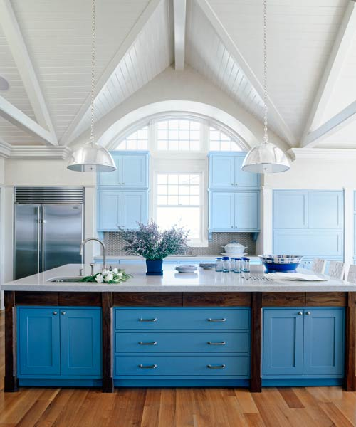 blue painted kitchen cabinets pantone placid blue color of the month