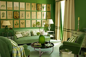 a green-themed living room