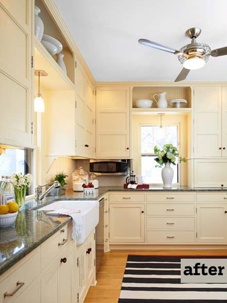 light yellow kitchen with lots of counter space, kitchen before and after remodel