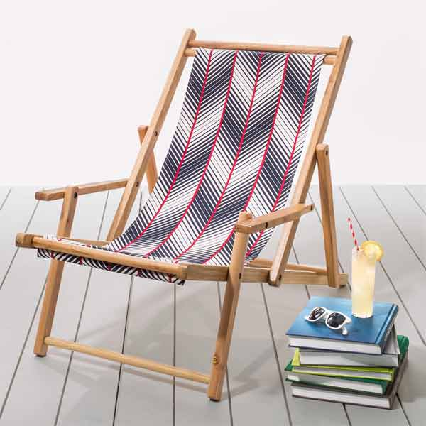 Julie Brown Designs striped woven cotton and rubberwood frame, folding deck chairs shopping guide