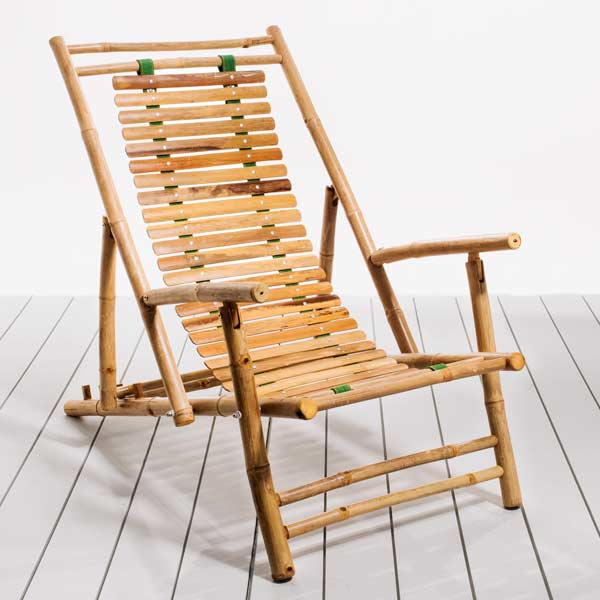 Beachy Bamboo Folding Deck Chairs