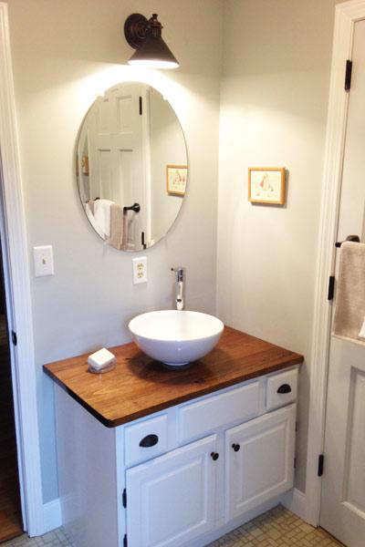 Bathroom Renovations Vermont: Vessel Sink Freshens Space: After