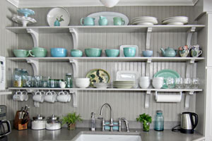 open shelving in kitchen, reader storage ideas