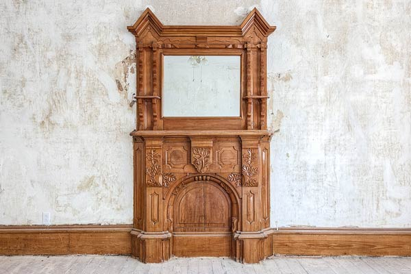 ornate walnut mantel in a Folk Victorian for sale in Brunswick, Missouri