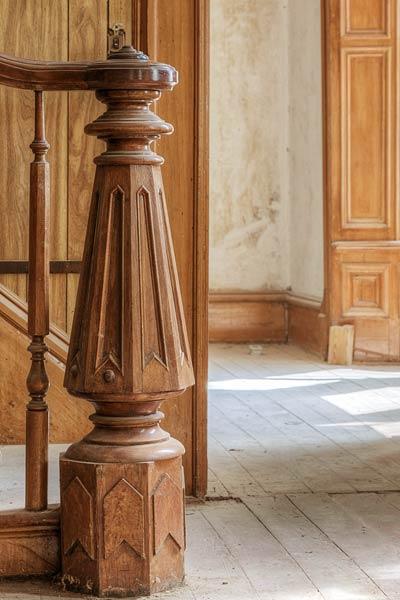 carved walnut newel in a Folk Victorian for sale in Brunswick, Missouri