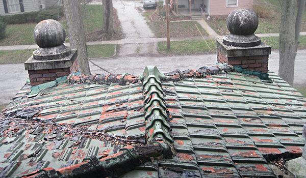 Mission-style roof fitted with glazed ceramic tiles, save this old house brazil indiana