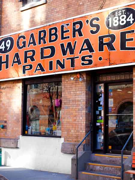 exterior of garber hardware store in brooklyn new york, america's best mom and pop hardware stores