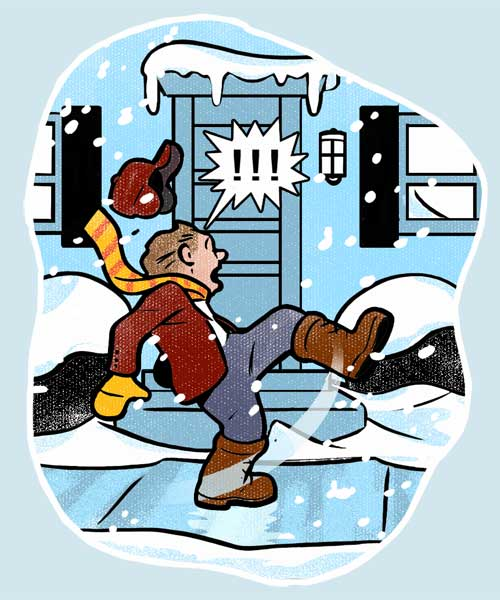 person slipping on the ice outside a front door to illustrate safe stepping gallery