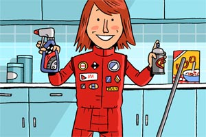 illustration of a woman standing in a kitchen holding up cleaning products dressed as a stock car racer