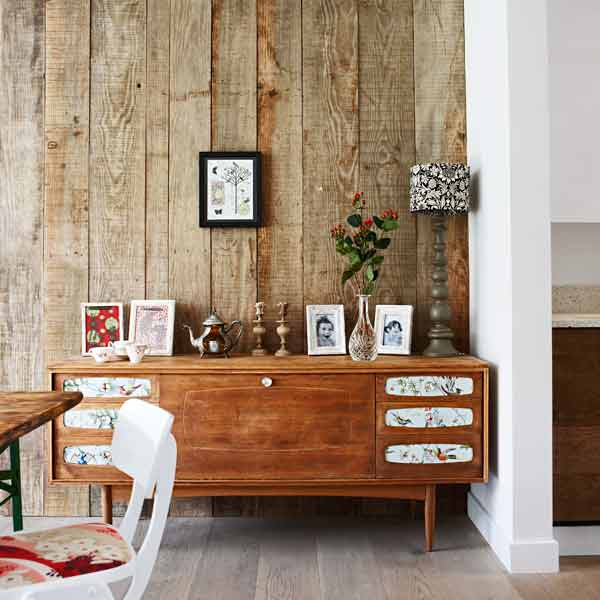 wall covered in rustic looking planks, how to get aged wood look
