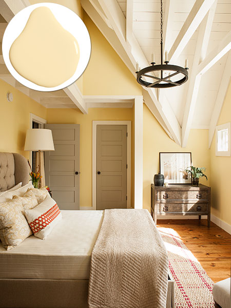 Exposed beams in the master bedroom idea house 2015 cottage at cloudland station this old Master bedroom with yellow walls