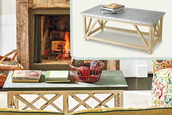 Zinc topped coffee table create an elegant farmhouse for Elegant farmhouse living room