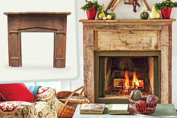 Salvaged mantel create an elegant farmhouse living room for Elegant farmhouse living room