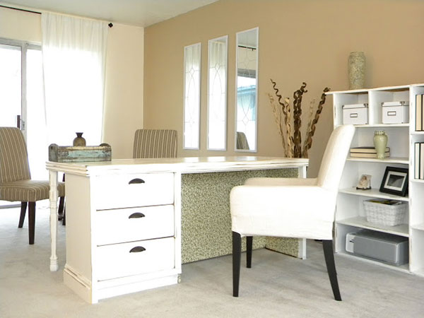 old dresser re-purposed as a home office desk