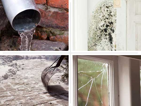 grid of four images showing (from left) a downspout with water coming out, black and green mold on a wall, a broken window pane, and a freshly shoved brick walkway