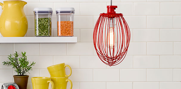 kitchen pendant light made from a kitchen wire whip