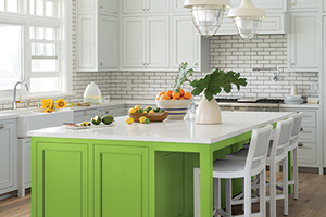 green apple by Pratt & Lambert on a kitchen island