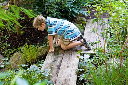 a boy looks at a stream on a zig-zag bridge in a backyard garden retreat