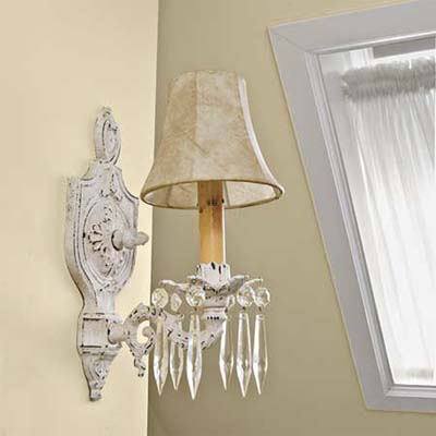 vintage-style sconces replace pedestrian fixtures