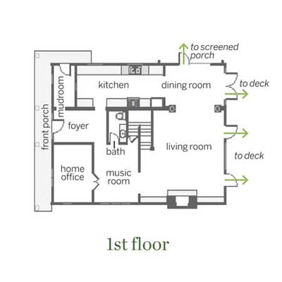 downstairs floor plan for this remodeled shingle-style cottage