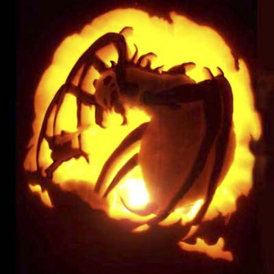 spider from the hobbit carved on a pumpkin