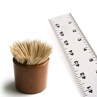 toothpicks and metal ruler