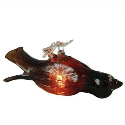 hand-fired glass sleeping bird lamp